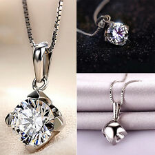 Women Crystal Necklace Chain 925 Sterling Silver The Four Claw Plated Pendant
