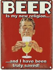 Beer - My religion, Truly Saved, Retro Funny Pub Bar Lager, Small Metal/Tin Sign