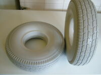 2 x PUNCTURE PROOF 4.10/3.50-5 MOBILITY SCOOTER TYRES. BRAND NEW COLOUR GREY.