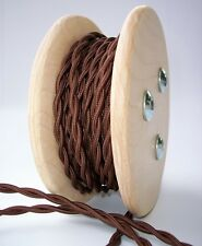 Dark Brown Rayon 25ft Cloth Covered Twisted Wire - Lamp Cord - Fan  Pendant