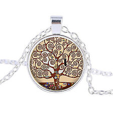 Vintage Tree of life Cabochon Tibetan Silver Glass Chain Pendant Necklace CB151