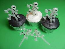 12 Skeleton Halloween Glow in the Dark Cupcake Toppers Picks Cake Decorations