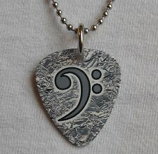 Metal Guitar Pick Necklace - BASS CLEF - bassist player guitar pendant silver #1