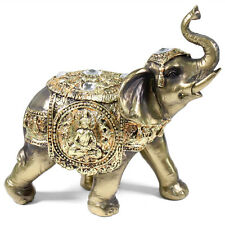 "Feng Shui 7"" Bronze Elephant Trunk Statue Wealth Lucky Figurine Gift Home Decor"