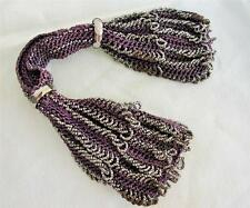 ANTIQUE VICTORIAN CUT STEEL BEADED PURPLE KNITTED MISERS STOCKING PURSE c1840