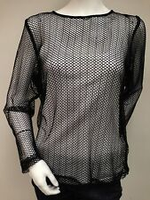 Michael Tyler Black Mesh Sheer Rave Long Sleeve Hexagon Shirt Top Sz XXL New NWT