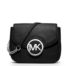 NWT  MICHAEL KORS FULTON SMALL CROSSBODY BAG MK SILVER BLACK LEATHER PURSE