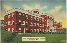 Charleroi-Monessen Hospital in Charleroi PA Postcard 1941