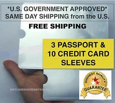3 x Passport 10 x RFID Blocking ID Credit Card Protector Secure Sleeve holder
