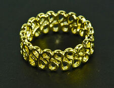 LADIES GOLD PATTERNED CUT OUT RING STUNNING EVENING WEAR UNIQUE (ZX5)