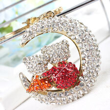 Moon Crescent Cute Rhinestone Crystal Purse Bag Key Chain Lover Valentine's Gift