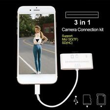 3 in 1 USB Card Reader Micro SD Camera Connection Adapter for iPhone 7 mini AIR