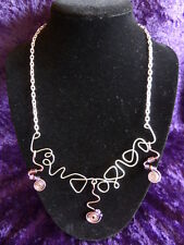 Copper & Silver Wire Swirl Necklace with Purple Bead Accents