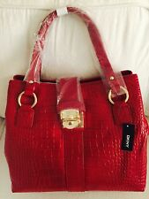 DKNY Ladies SHOULDER BAG  ALLOVER CROCO LEATHER PUSH LOCK Red Colour