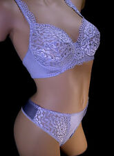 NEFER Bra Thong Set LACE & SATIN Lavender 34B-S NWT made in ITALY $238 Fabulous!