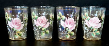 Set of 4 ANTIQUE Victorian ENAMELED Carnival Glass ENAMEL PAINTED ROSES Tumblers