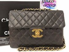 ry56895 Auth CHANEL Black Lamb Skin Jumbo Single Flap Chain Shoulder Bag Gold HW