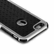iPhone 6+ case,ProtectiveSilicone Bumper Slim Soft Black Silver Back Panel Cover