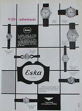 PUBLICITE ESKA MONTRE SUISSE MONZA MONTLHERY BOL D'OR DE 1954 FRENCH AD WATCH