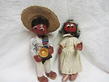 2 TWO VINTAGE MEXICAN WEDDING BRIDE AND GROOM DOLLS