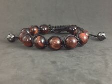 NEW MENS Red Tiger Eye Natural Gemstone Beads Shamballa Beaded Jewelry Bracelet