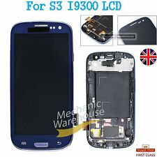 For Samsung Galaxy S3 i9300 LCD Touch Screen Digitizer Display Blue Frame Lens