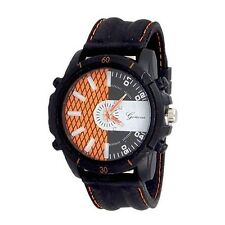 Black Orange Designer Fashion Watch Geneva Silicone Band Men Sport
