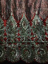 1 Metre  Red / Silver Floral Border Embroidery Sequins Net Lace Dress Making