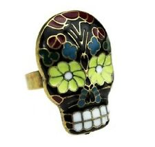 R150 BETSEY JOHNSON Exquisite Cute Crystal Gem Halloween Skull Bow Ring US