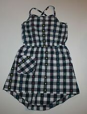 NEW Hanna Andersson Summer Navy Check Polka Dot Dress Size 140 or 9 10 11 Year