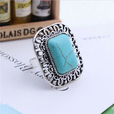 Stylish Jewelry Carving Flower Antique Silver Ancient Ways Square Turquoise Ring