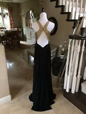 $398 NWT BLACK/GOLD  JVN BY JOVANI PROM/PAGEANT/FORMAL DRESS/GOWN #31407 SIZE 4
