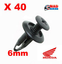 40 x Honda Style Motorcycle Fairing Panel Clips Plastic Screw Rivet for 6mm hole