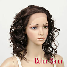 HAND TIED Synthetic Hair LACE FRONT FULL WIGS GLUELESS Dark Brown 95#4