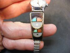 vintage native american ZUNI Sterling Silver Turquoise Coral watch TIPS