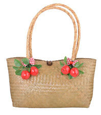 Cute 50s APPLE Retro Schleife Raffia Bow Bast HANDTASCHE TS3104 Rockabilly