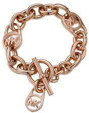 NWT Michael Kors ROSE GOLD Chain Logo Padlock Toggle Bracelet MKJ2752 MKJ2752791