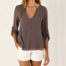 Womens Summer Casual Roll-up Long Sleeve Chiffon Tee T Shirt Blouse Loose Tops