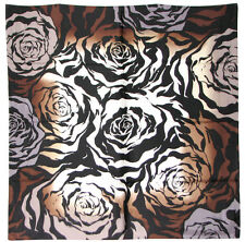 """Vince Camuto 100% Twill Silk Scarf / Brown / Floral / 35"""" X 35"""""""