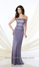 Mon Cheri 214942 Strapless Sheath Lace Bodice sz 6 Dalphinium Purple