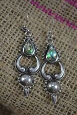 VINTAGE pair of STERLING SILVER and ABALONE SHELL large drop earrings festival