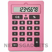 Pink Extra Large Big Giant Calculator Jumbo Huge Buttons 8 Digit Flip Up LCD NEW