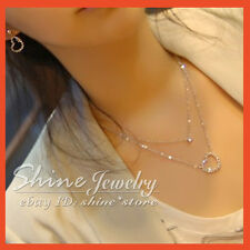 FASHION GOLD PLATED LOVE HEART CRYSTALS DOUBLE Chain LADIES Pendant Necklace 18