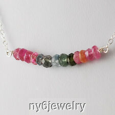 "Natural Tourmaline Necklace w/Sterling Silver Chain 16"" October Birthstone!!"