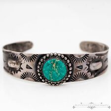 Antique Navajo Pawn Harvey Native Sterling Coin Silver Carico Turquoise Bracelet