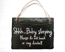 Bebé dormido muestra, signo de puerta frontal, Cartel De PIZARRA, resistente a la intemperie, cortada a mano placa