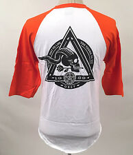 Obey Men's Baseball T-Shirt Too Fast to Live White/Orange Size L NEW Skull Arrow