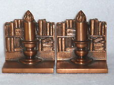 "Pair Art Deco PM Philadelphia MFG Co Metalware "" BOOKS & CANDLE ""  Bookends"