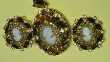 Hobe' Cameo Pendent Locket Matching Earrings Victorian Revival Set Carved Stone