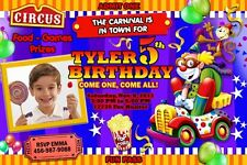 CIRCUS CARNIVAL CLOWN BIRTHDAY PARTY INVITATION PHOTO 1ST - C7 - PERSONALIZED